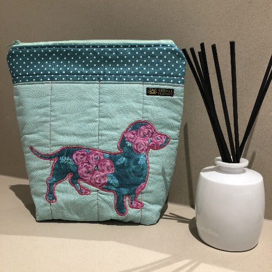 Mint Pink Dachshund Design Make Up Toiletry Bag