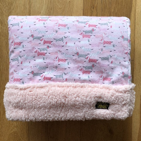 Pink / Grey Dachshunds Light weight Super Soft Snuggle Sack