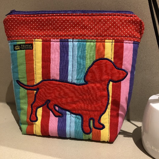 Rainbow Red Dachshund Make Up Toiletry Bag