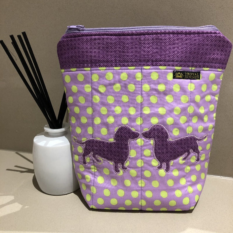 Funky Purple Kissing Dachshund Design Make Up Toiletry Bag