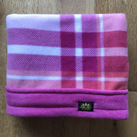 Pink and Salmon Tartan Pink Trim Snuggle Sack