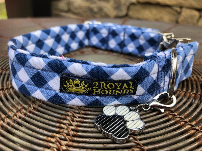 Blue Gingham Dog Collar - Fits 26 - 31cm neckline