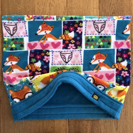 Fox Love Turquoise Trim Snuggle Sack