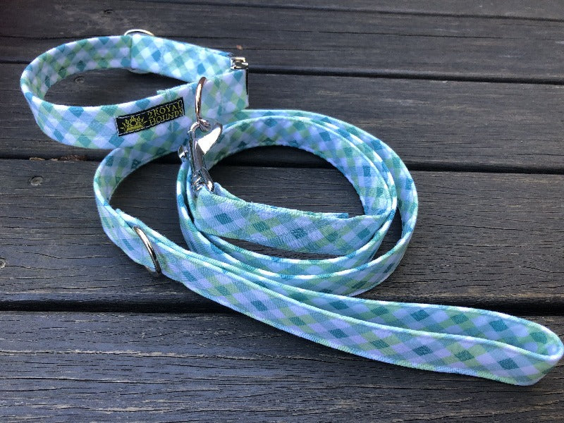 Green Summer Plaid Collar and Lead Set