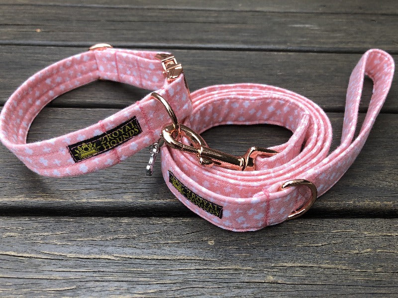 Crosses Splendor in Pastel Pink Collar and Lead Set