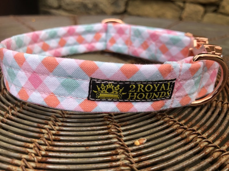 Pastel Pink Summer Plaid Collar and Lead Set