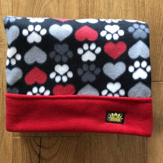 Paws and Hearts with Red Trim Snuggle Sack