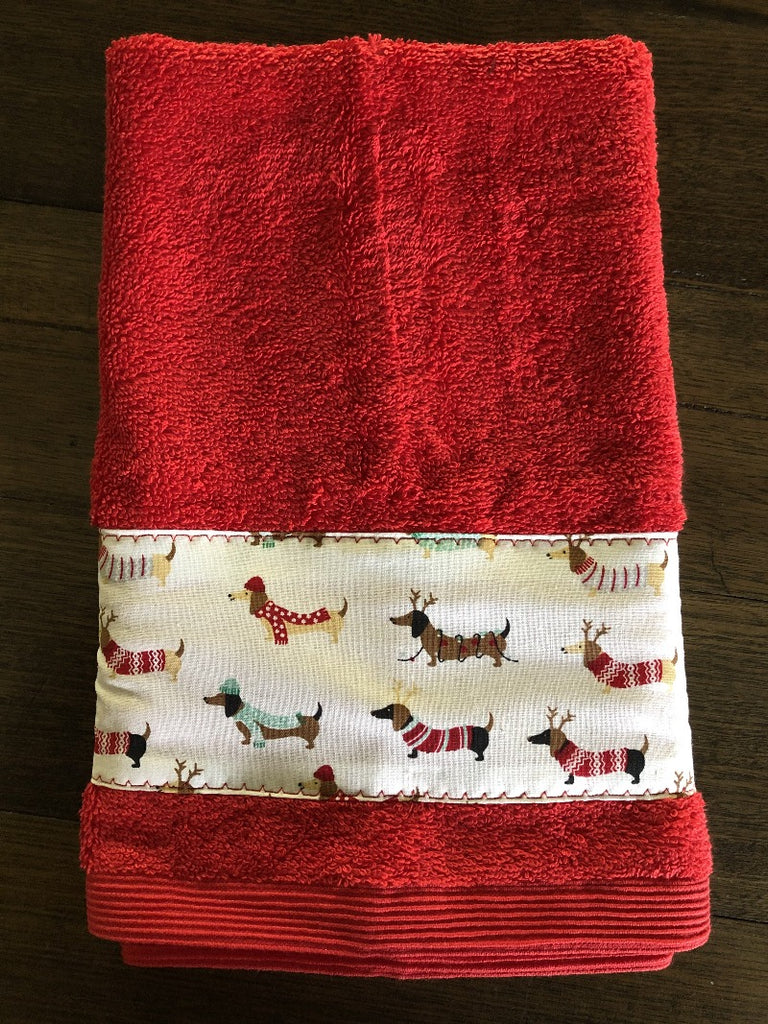 Red with White Dachshunds Xmas Hand Towel