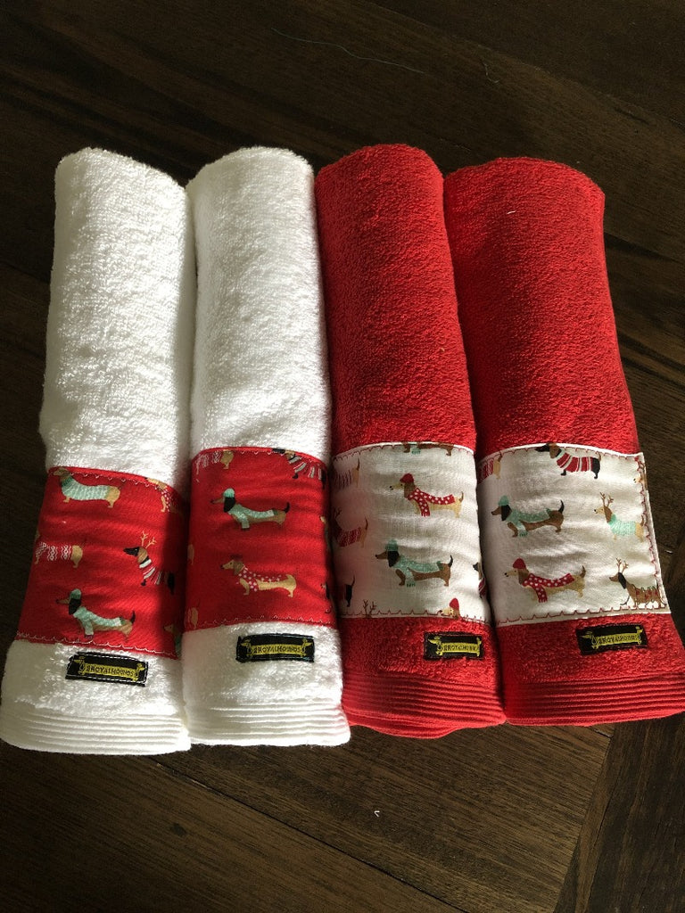 White with Red Dachshunds Xmas Hand Towel