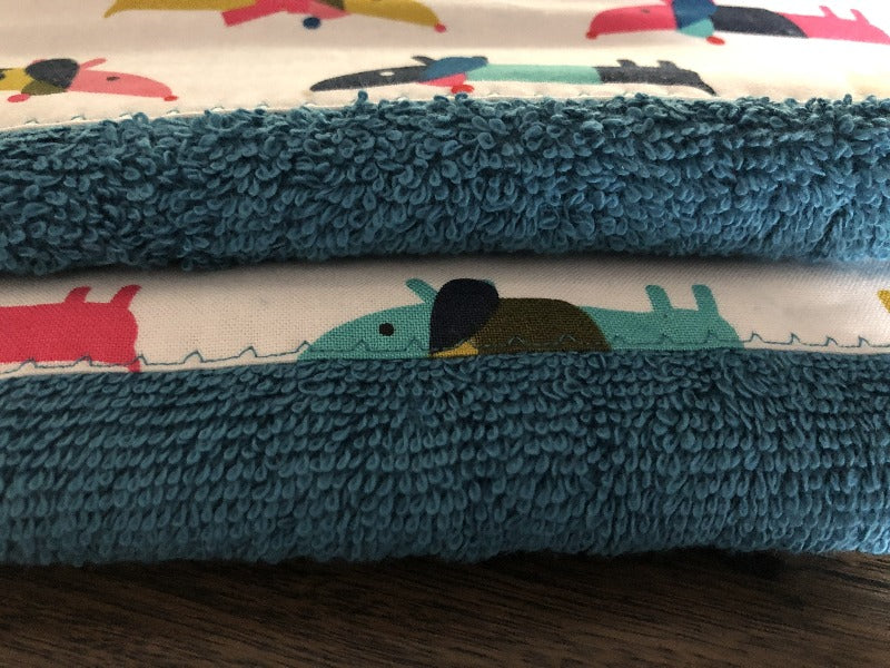 Teal Blue White Dachshunds Xmas Hand Towel