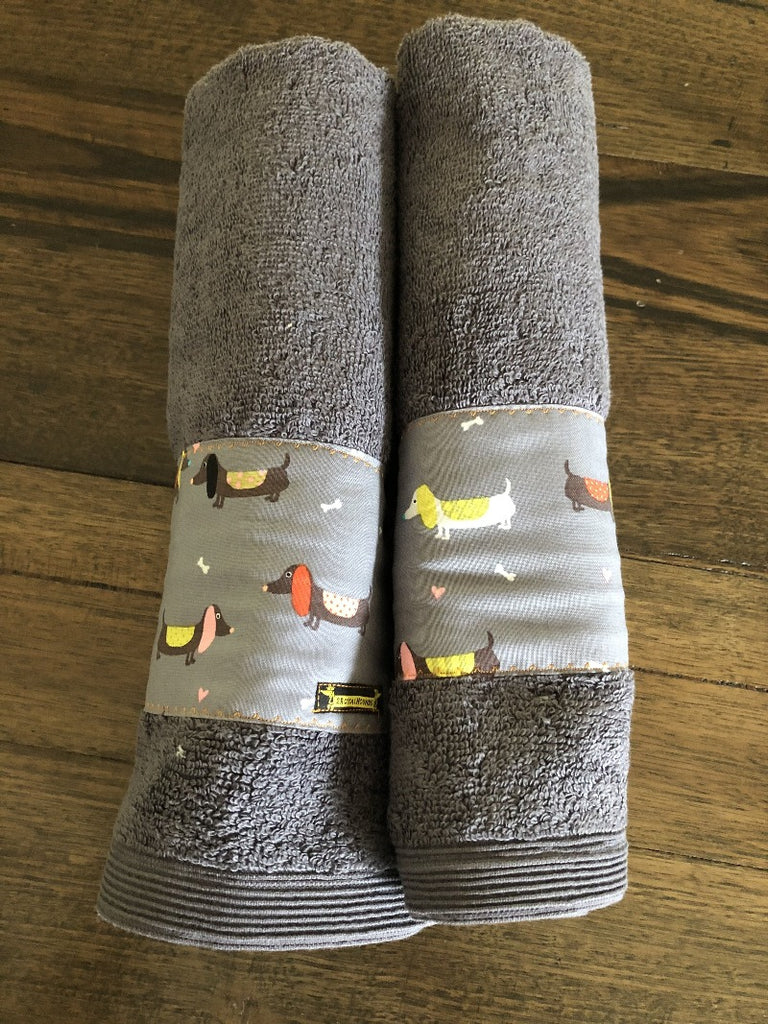 Grey Dachshunds Hand Towel