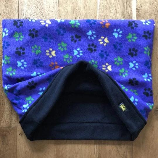 Blue Colourful Paws Black Trim Snuggle Sack