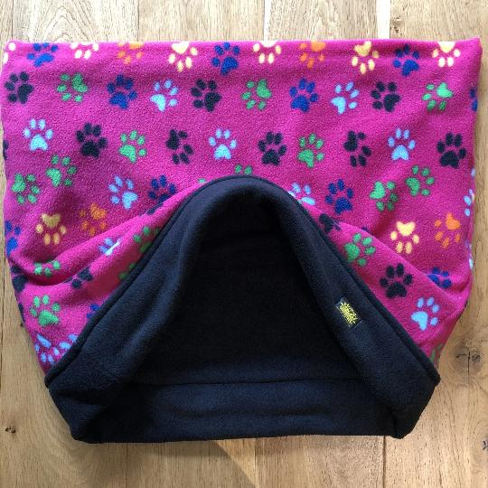 Pink Colourful Paws Black Trim Snuggle Sack