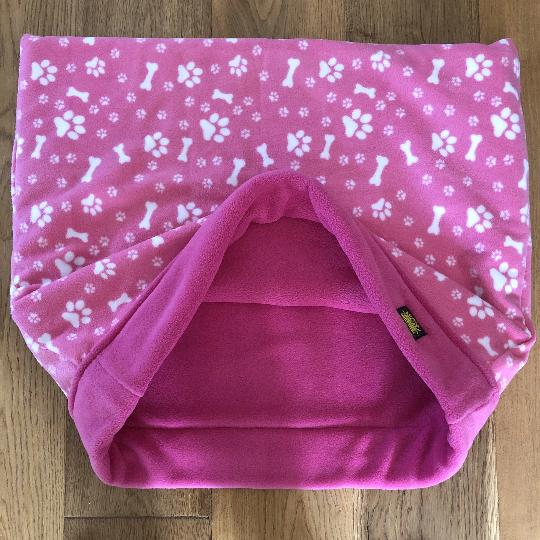 Pink and White Paws with Pink Trim Snuggle Sack