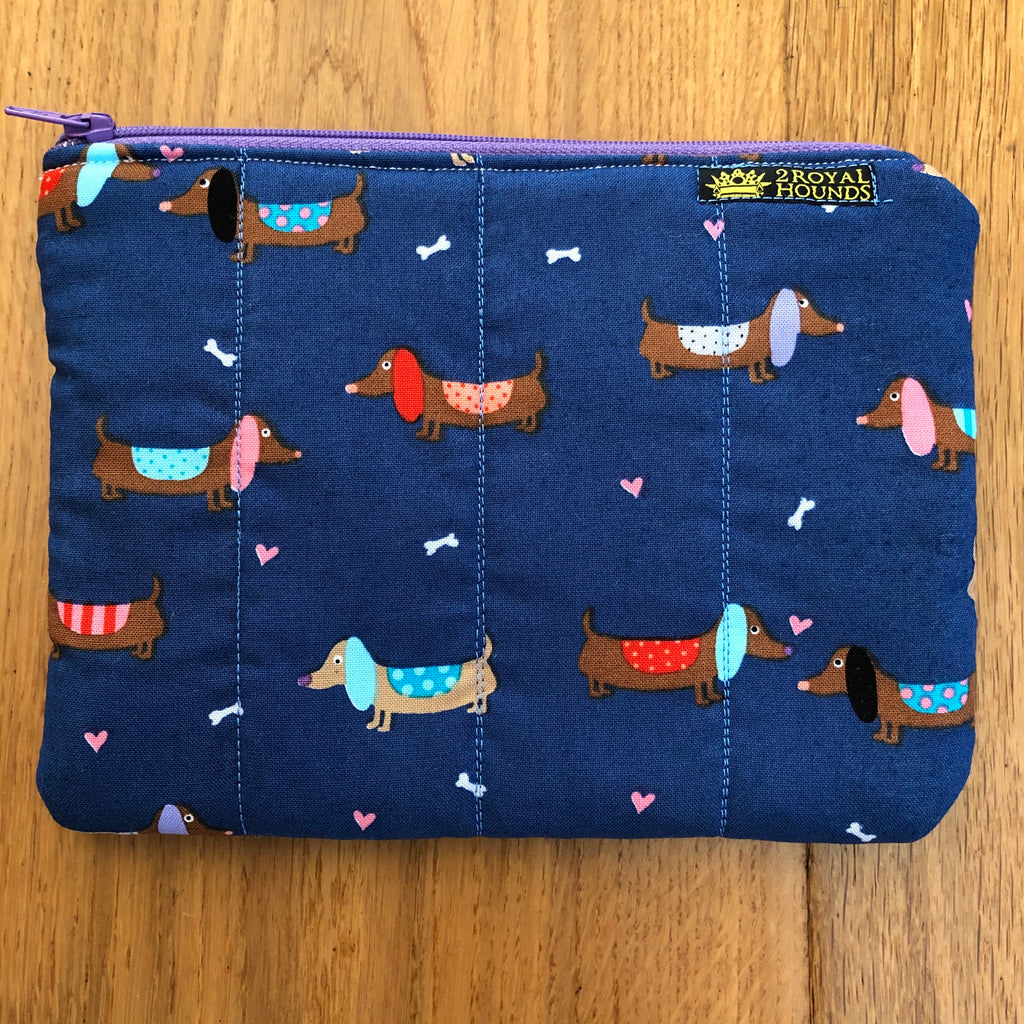 Blue Sausages with Hearts Little Waterproof lined Pouch Bag