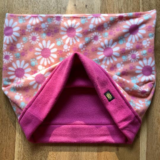 Pretty Pink Flowers and Paws Pink Trim Snuggle Sack