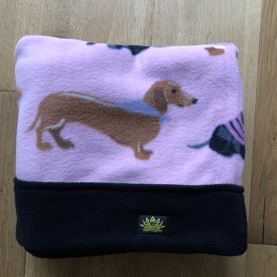 Pink Dachshund Blizzard Fleece Snuggle Sack