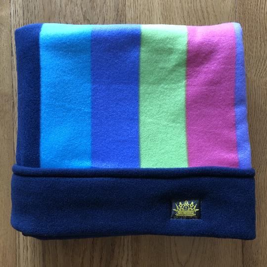 Navy Rainbow with Navy Trim Snuggle Sack