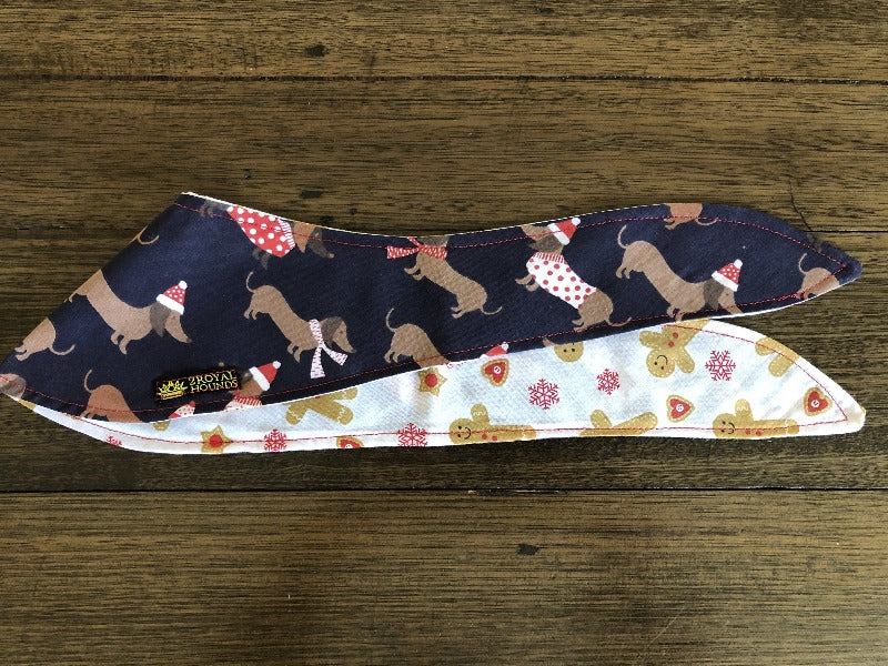 Xmas Dachshund Design Reversible Neckerchief
