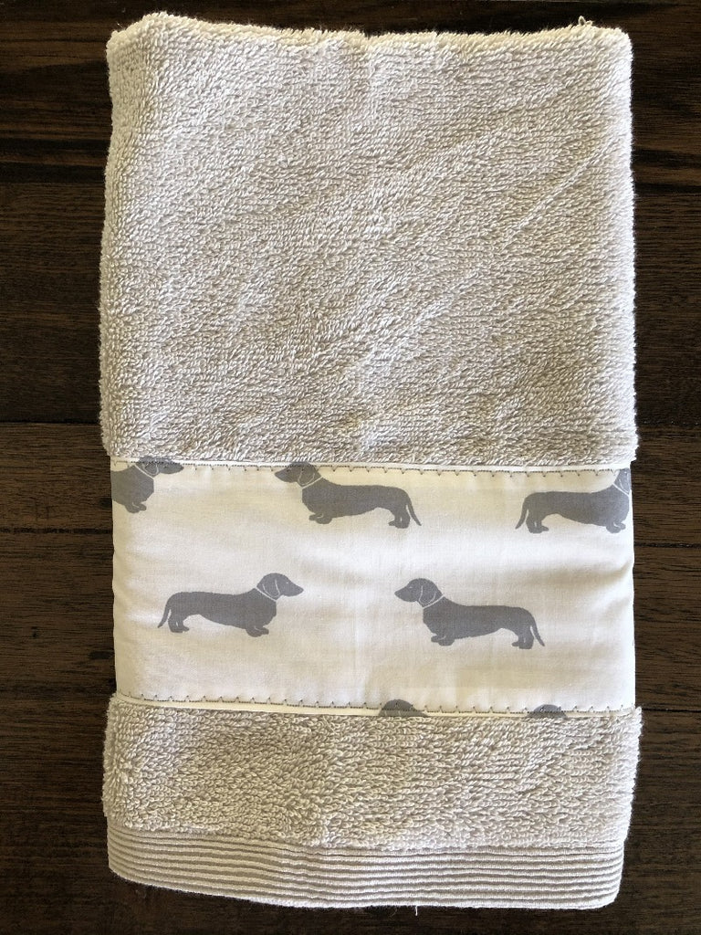Light Grey Dachshunds Hand Towel