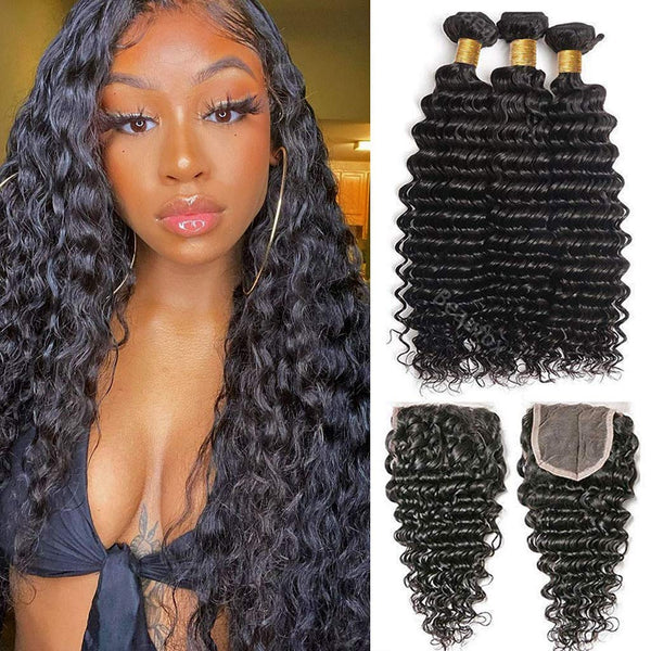 Brazilian Deep Wave Bundles with Closure - Kenishi Hair