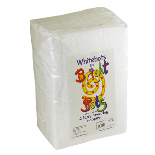 Bright Bots Terry Towel Nappies - 60 cm x 60cm Pack of 12 White