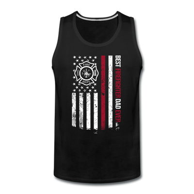 Best Firefighter Dad Ever Flag Tank - black