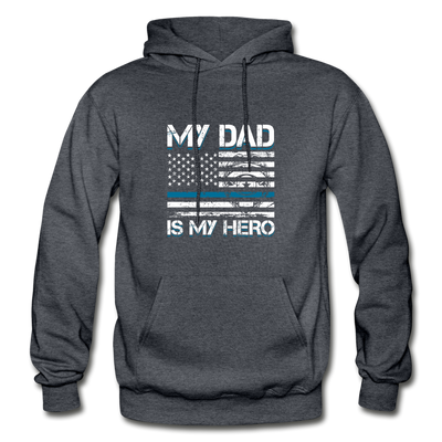 My Dad Is My Hero Police Hoodie - charcoal gray