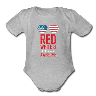 Red White And Awesome Organic Short Sleeve Baby Bodysuit - heather gray