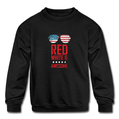 Red White And Awesome Kids' Crewneck Sweatshirt - black
