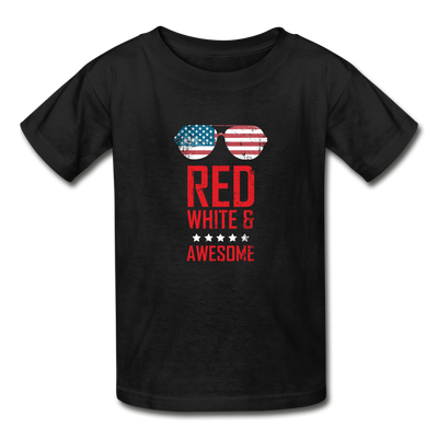Red White And Awesome Youth T-Shirt - black