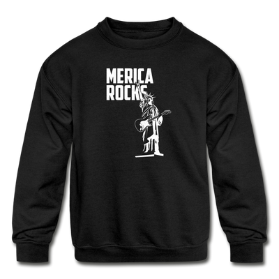 Merica Rocks Kids' Crewneck Sweatshirt - black