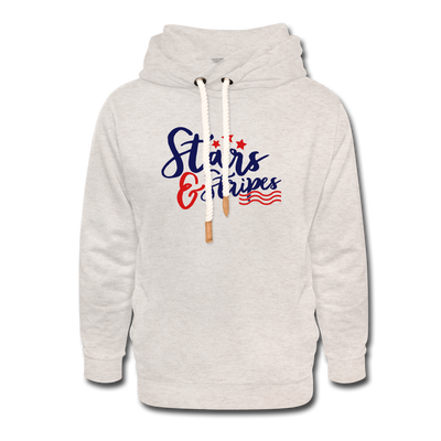 Stars & Stripes Shawl Collar Hoodie - heather oatmeal