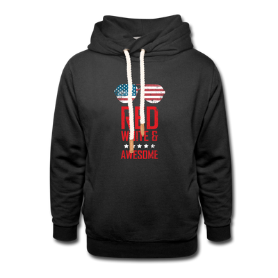 Red White & Awesome Shawl Collar Hoodie - black