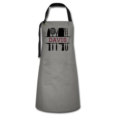 Personalized BBQ Cooking Apron - gray/black