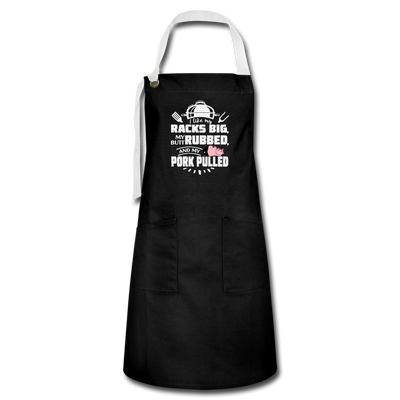 I Like My Racks Big Apron - black/white
