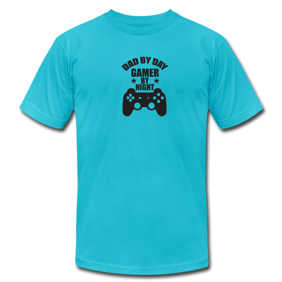 Dad By Day Gamer By Night T-Shirt - turquoise