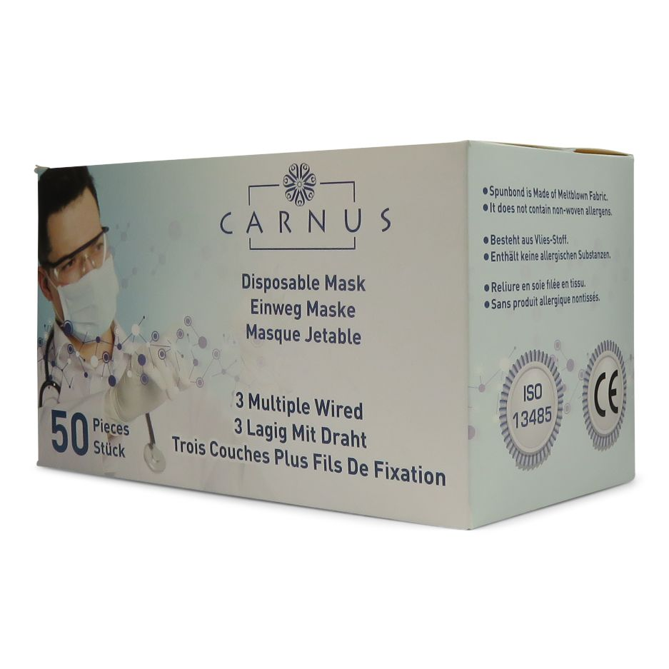 CARNUS 3-ply Disposable Face Masks - Pack of 50
