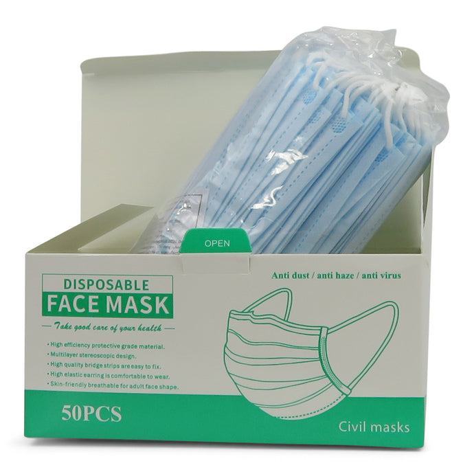 3-ply Disposable Face Masks - Pack of 50