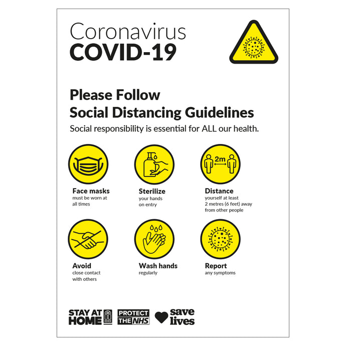 COVID-19 Social Distancing Guidelines - Board Sign