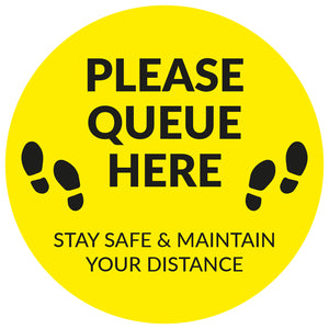Please Queue Here - Floor Sticker