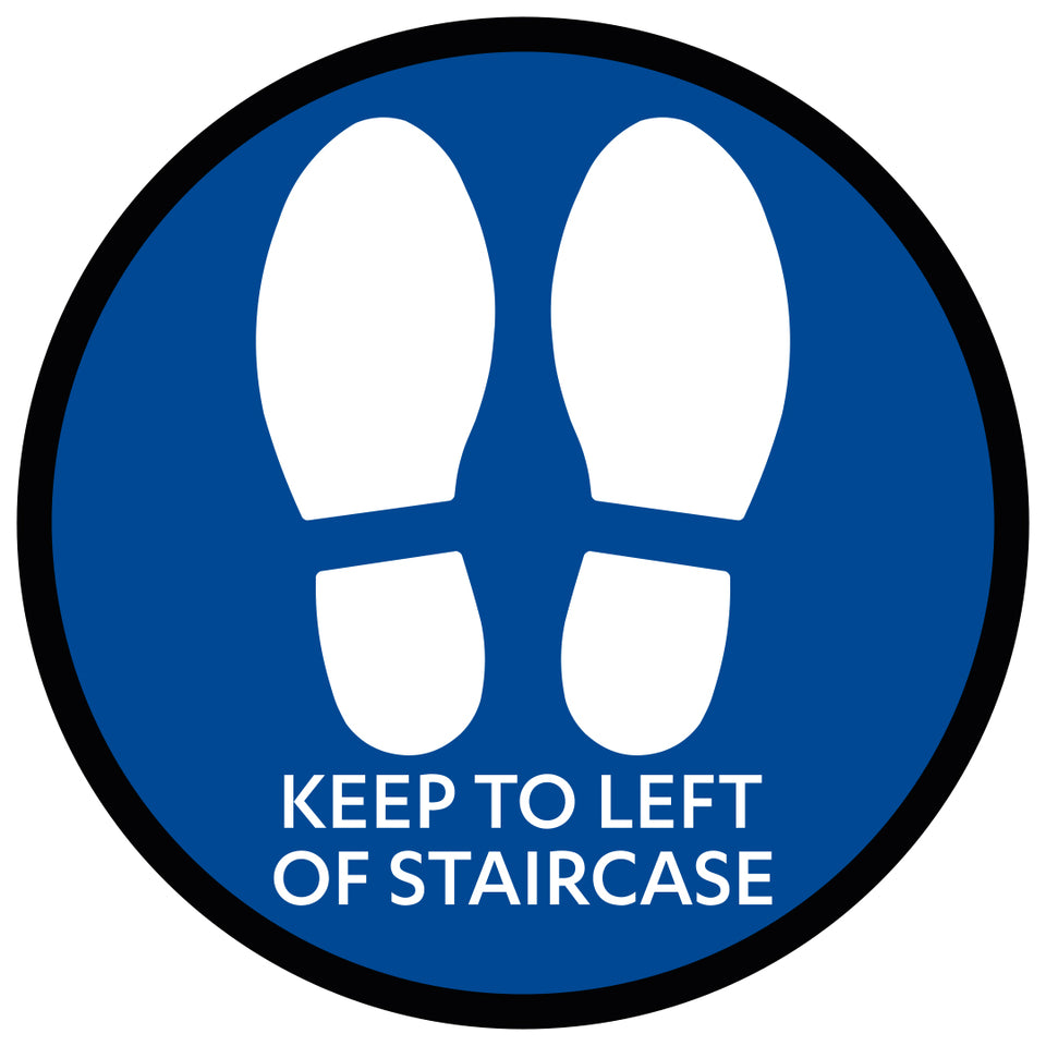 Blue Keep to Left  - Floor Sticker for Stairs