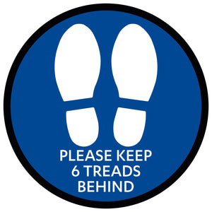 Shoe Please Keep 6 Treads Behind - Blue Floor Sticker
