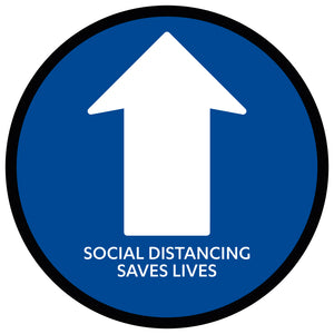 Blue Directional Arrow Social Distancing  - Floor Sticker