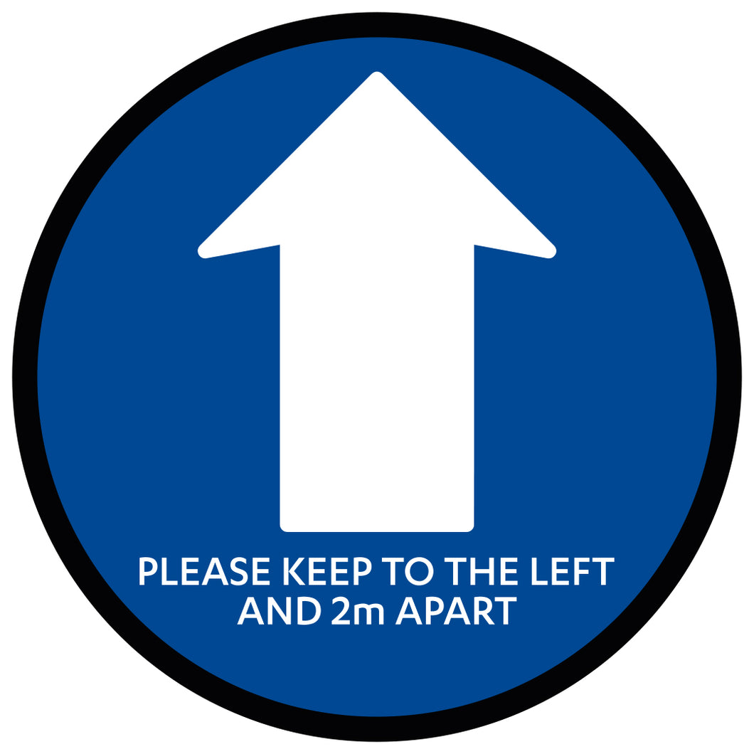 Blue Directional Arrow 2 M Apart  - Floor Sticker