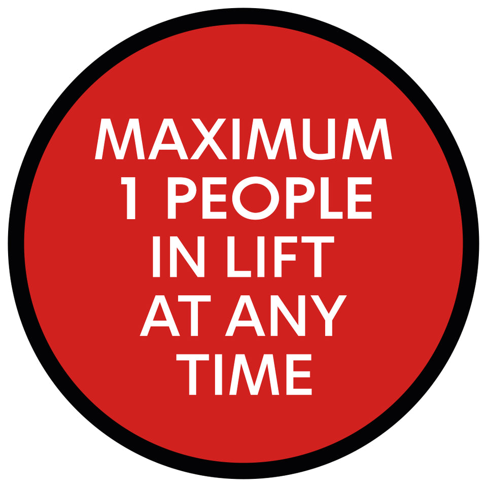 Red Max People In Lift  - Floor Sticker