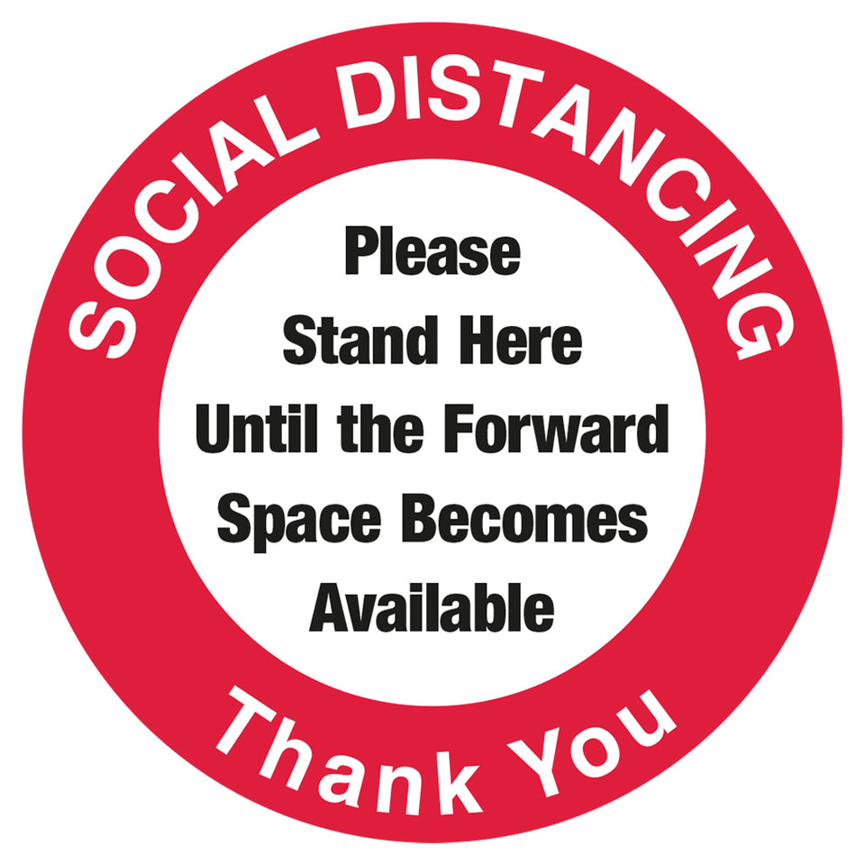Red Social Distancing Thank You - Floor Sticker