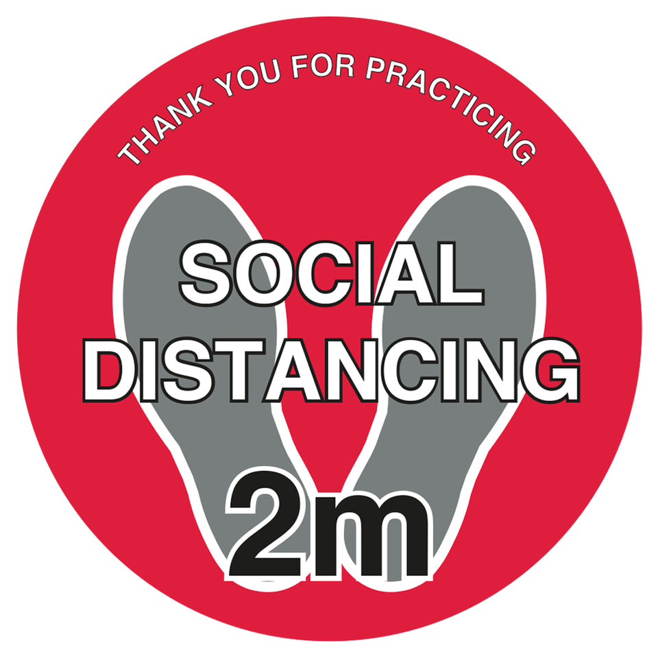 Red Social Distancing Thank You For Practicing - Floor Sticker