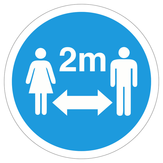 Blue 2M Apart  - Floor Sticker
