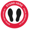 Red Stand Here Social Distancing  - Floor Sticker